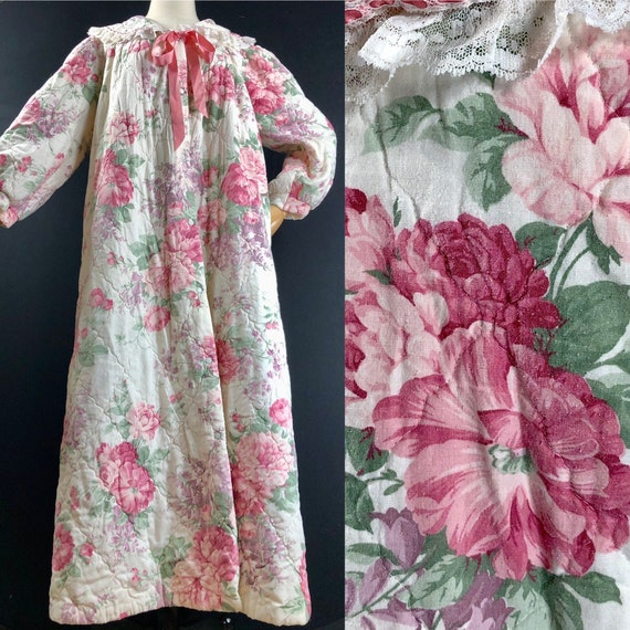 1960s cabbage rose robe / vintage cotton blend qui
