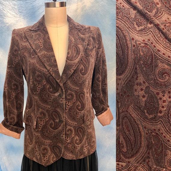 1970s paisley jacket / vintage 70s cotton velvet p