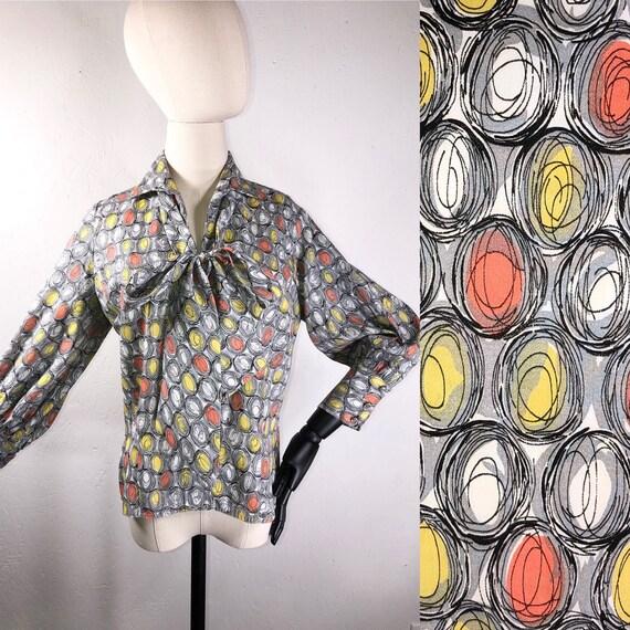 vintage 70s blouse / 1960s 1970s Pussy Bow Op Art