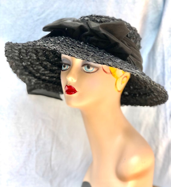 40s straw hat / 1940s black straw hat / vintage 40