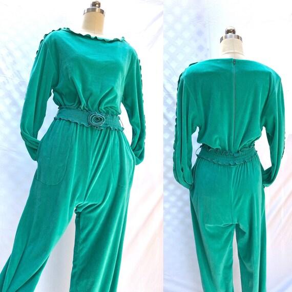 80s jumpsuit / vintage 1980s Patti Cappalli teal c