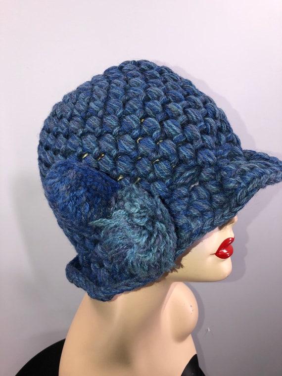 Sale - 60s Hat Beanie vintage 1960s blue chunky ha