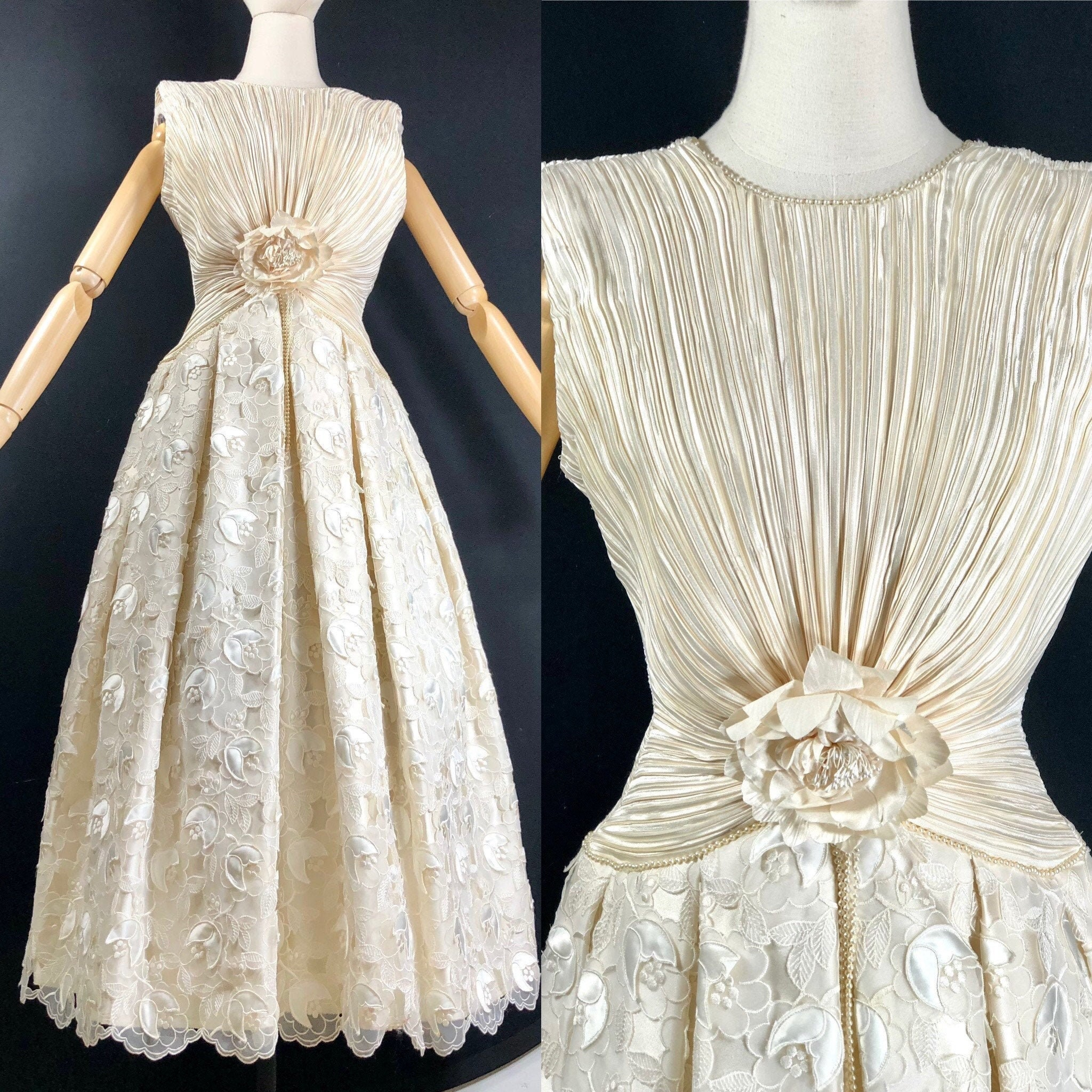 80s Dresses | Casual to Party Dresses 80S DressVintage George F. Couture Formal Evening Gown White Floral Cut Out Lace Ruched Bodice 36 Bust Wedding Party $50.00 AT vintagedancer.com