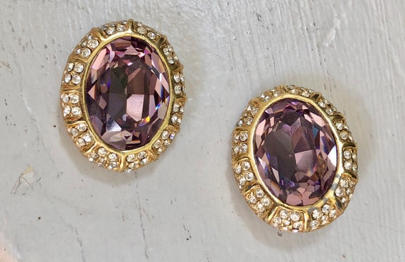 vintage Ciner  earrings / 80s 1980s HUGE purple fa