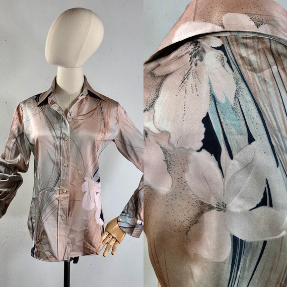 disco shirt / vintage 70s Shirt / STUART LANG 1970
