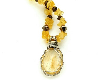 Citrine Necklace featuring Stainless Steel Wire Wrapped Citrine Focal