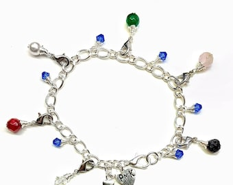 Silver Plated Purity Charm Bracelet, Detachable Gemstone Charms Lava and Jade Style, Personalized charm Optional