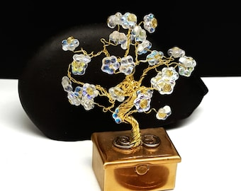Spring Fairy Treasure Box Tree in Brass\  Tooth Fairy Box\ Tree of Life\ Wire Bonsai Tree\ Flowering Tree\Gifts for Her