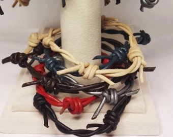 Single Strand  Barbedwire Leather Bracelet Custom Custom Made to order, in Brown, Black, Blue, Gray, Red, and Natural