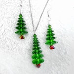 Fern Green Swarovski Christmas Tree Necklace and Earring Set,  Winter Forest Collection