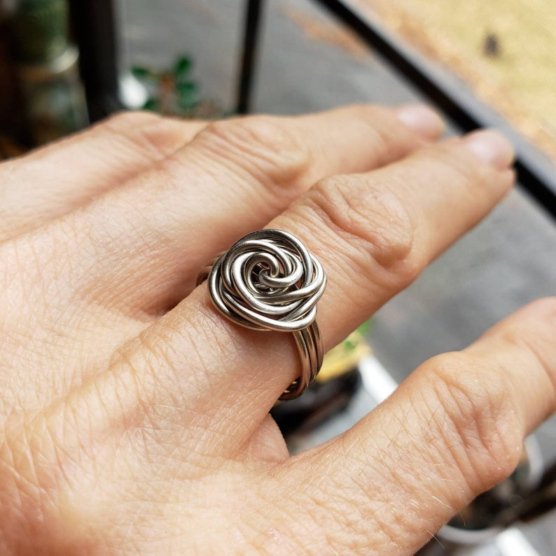 Stainless Steel Wire Wrapped Rose Ring  Nature Inspired image 0