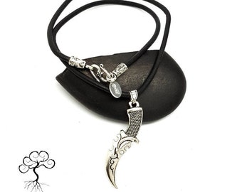Leather Cord Necklace with Dagger Charm, Gifts for Guys, Boho Necklace, Leather Necklace, Gift Idea For Him