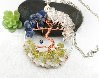 """Family Birthstone Dancing Tree of Life Pendant, Custom Made, with Complimentary Chain. 2"""" diameter"""