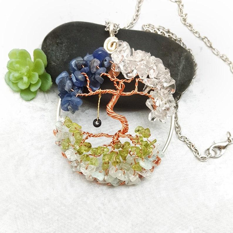 Family Birthstone Dancing Tree of Life Pendant Custom Made image 0