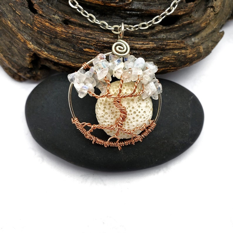 With Oil Diffusing Lava Stone 1.5 Inches Moonstone June Birthstone Tree of Life Pendant