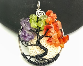 """Four Seasons  Tree of Life, 1.5"""" Pendant, Left-handed Clasp Available. With or without moon and swing"""