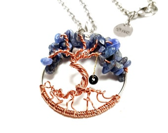Sapphire Dancing Tree of Life Pendant, 1.5 Inches