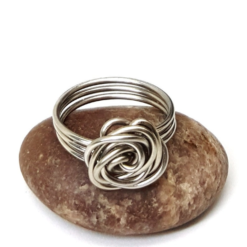 Stainless Steel Wire Wrapped Rose Ring Wire Rose Ring Flower image 0