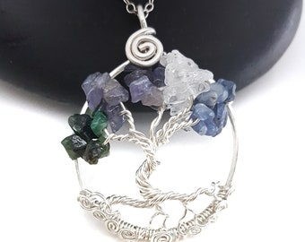 Sterling Silver Family Birthstone Tree Of Life  Pendant, 1.5 Inches, With Decorative Spirals at Base and Matching Chain