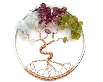 Family Birthstone Dancing Tree of Life, Custom Made 3 Inch Suncatcher