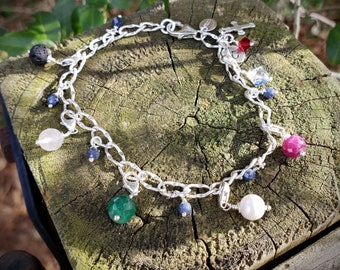 Sterling Silver Purity Charm Bracelet, with Genuine Gemstones,  Personalized Hand-stamped Heart Shaped Charm Optional