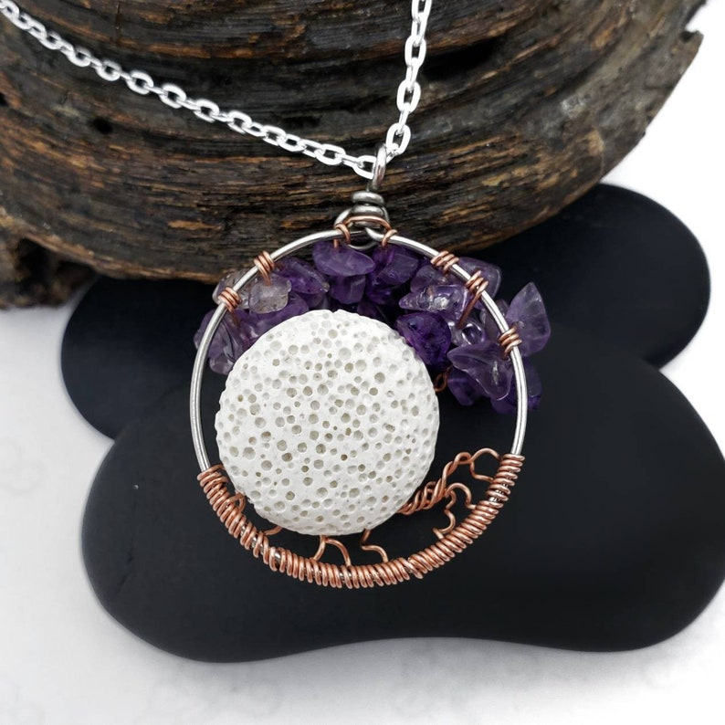 Optional Oil Diffusing Lava Stone and  Swing February  Amethyst Birthstone Dancing Tree of Life Pendant 1.5 Inches