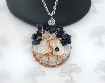 September Birthstone Dancing Tree of Life Pendant, with Oil Diffusing Lava Stone, 1.5 Inches