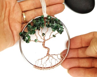 Handmade 3 Inch Emerald Tree of Life Ornament/  Home Decor/ Gift Idea for Her/ Housewarming Gift/ May Birthstone/ May Birthday Gift