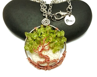 August Birthstone Dancing Tree of Life Pendant, With Oil Diffusing Lava Stone, 1.5 Inches