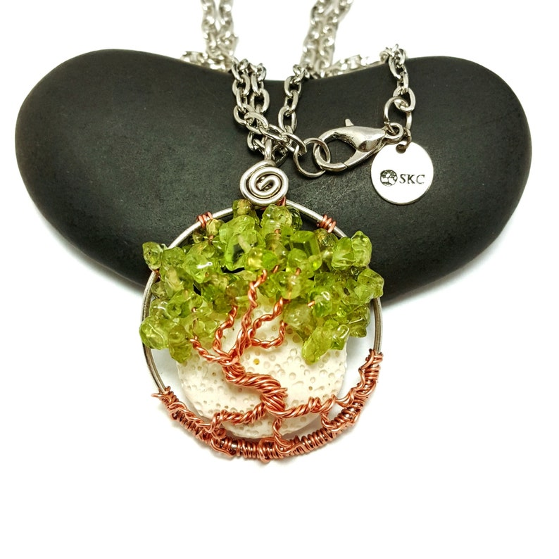August Birthstone Tree Of Life Pendant With Oil Diffusing image 0