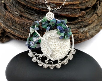 """Sterling Silver Family Birthstone Dancing Tree of Life Pendant, 1.5"""", With Spirals at Base, Oil Diffusing Lava Rock"""