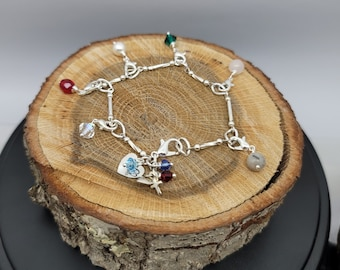 Silver Plated Purity Charm Bracelet, Made to Order Link Style Bracelet, with Detachable Gemstone and Glass Charms. Personalization Optional
