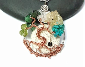 Family Birthstone Dancing Tree of Life Pendant, 1.5 Inches with optional Oil Diffuser and Swing