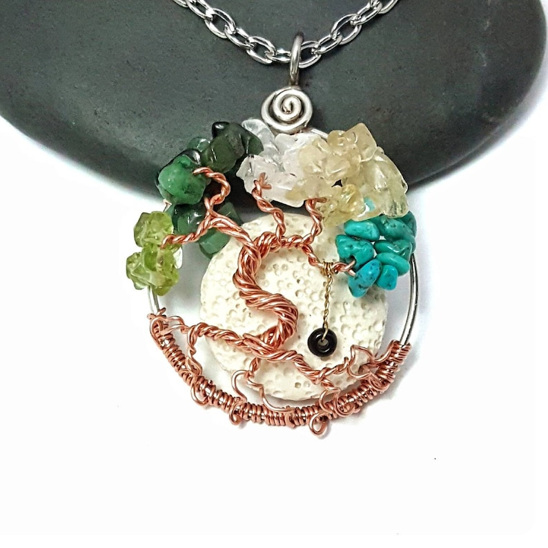 Family Birthstone Tree Of Life Pendant 1.5 Inches with image 0