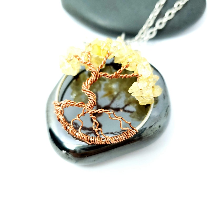 Citrine Birthstone Tree of Life Pendant 1.5 Inches image 0