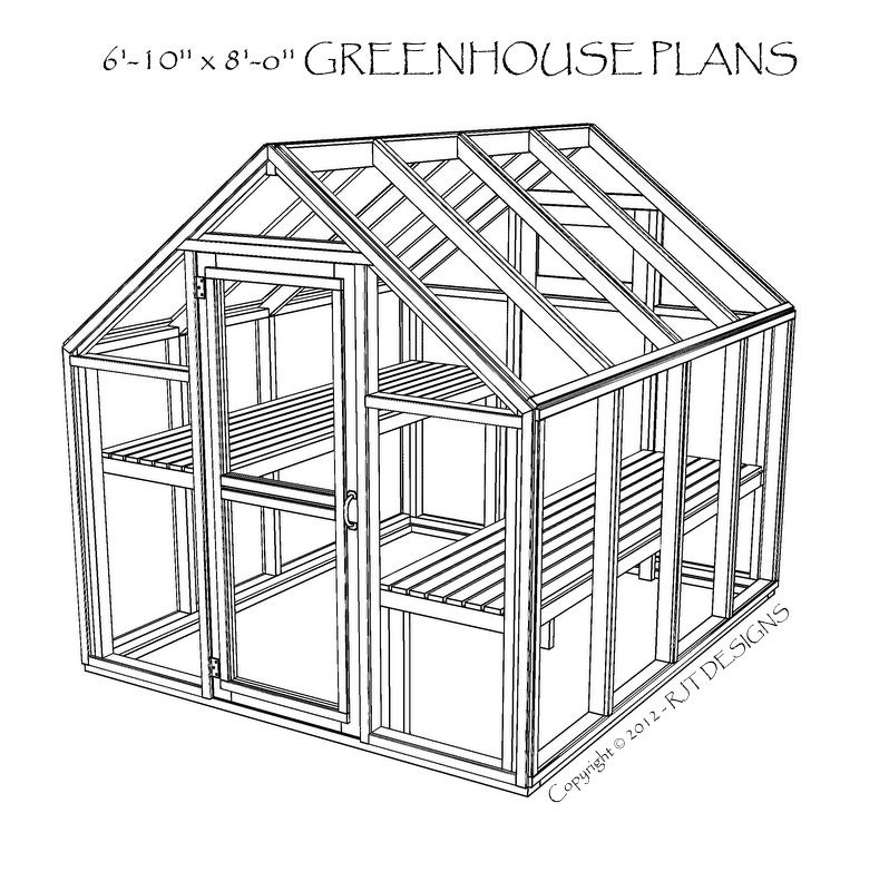 6\'10 x 8\'0 Greenhouse Plans Printed | Etsy