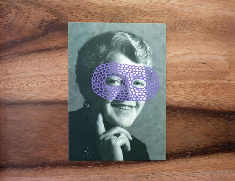 565b7f218f0a4 Smiling Vintage Woman Portrait Photography Art Collage Postcard, Retro  Original Art Gift Idea, Masked Woman Picture, Old Portrait Altered