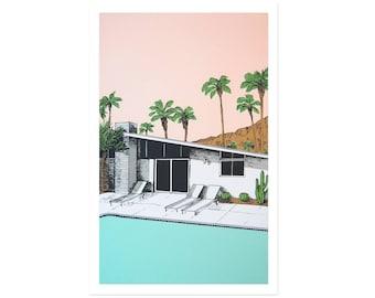 Palm Springs Pool Original Print