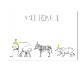 DIGITAL Thank You Card Flat - Zoo Animals - Customizable