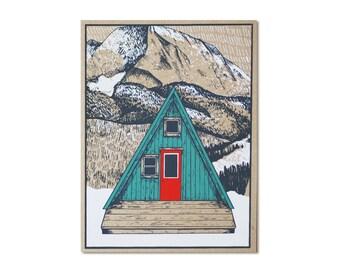 Christmas Card - Green A-Frame Cabin