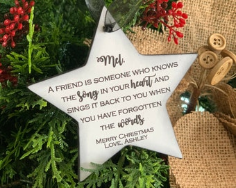 Personalized Friendship Ornament - A Friend Is Someone Who Knows The Song In Your Heart - Christmas Gift For Friend - Keepsake