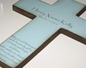 Personalized Christian Cross With Poem- Beautiful Baptism Gift for a Boy or Girl