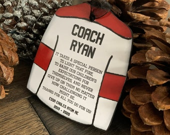 Hockey Team Coach Christmas Ornament. Personalized Christmas Gift for Those That Inspire- Custom Hockey Jersey Christmas Ornament