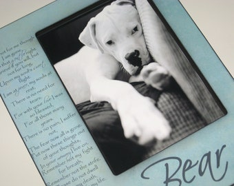 Pet Memorial Large Sized 5x7 Photo Frame - Personalized With Dog or Cat's Name and Sentimental Poem