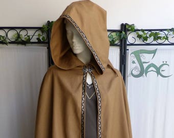 Brown Pixie hood with Brown/bronze Ribbon Cape