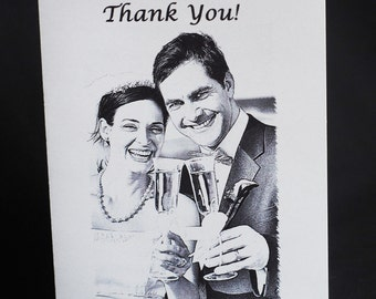 50 Wedding Thank You Cards w/Sketch from Photo