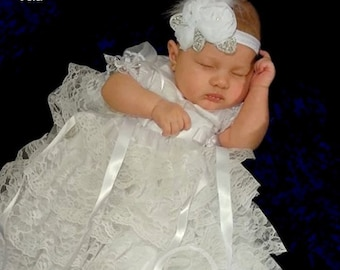 Christening Gown girl White Lace baby girls Blessing Gown Blessing Dress Naming Dress Formal Ware
