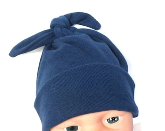 a50c2aa0db9 Navy Newborn Baby Hat - Soft Stretchy Hospital Homecoming Hat - Modern Top  Knot Infant Cap - Navy Blue Pull-On Stretch Baby Hat