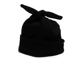 Black Baby Hat - Soft Stretchy Black Newborn Hospital Homecoming Hat -  Modern Top Knot Infant Cap - Classic Black Pull-On Stretch Baby Hat 43a27314cd8