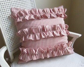 Ruffled red ticking stripe pillow cover